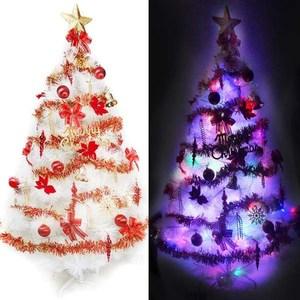 摩達客 台製15尺特級白色松針葉聖誕樹+紅金色系配件+100燈LED燈