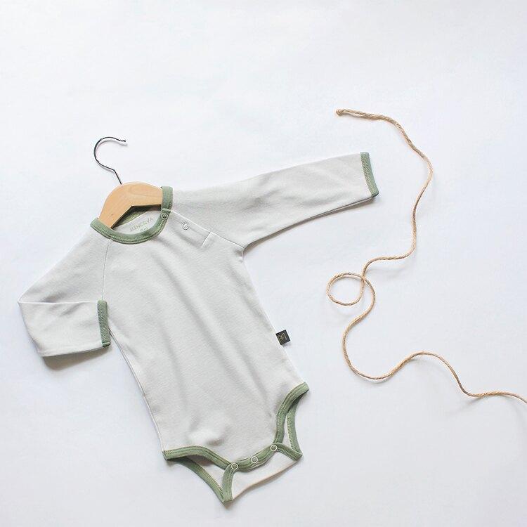 台灣 米諾娃 MINERVA 古典綠長袖包屁衣 (6M-24M)