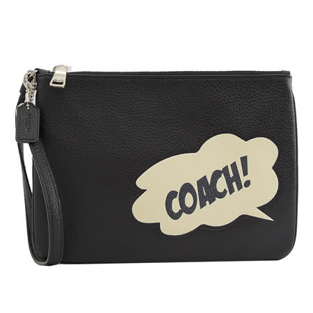 COACH 專櫃商品 2648 漫威聯名亮片LOGO造型大手拿包/萬用包.黑