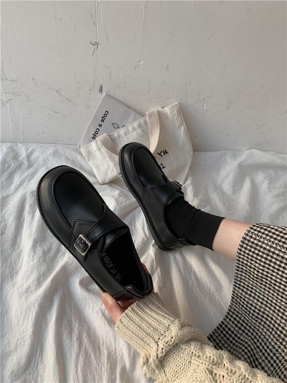 黑色淺口小單鞋女2020夏季新款學生百搭休閒韓版復古小皮鞋女ins 愛尚優品 雙十一購物節