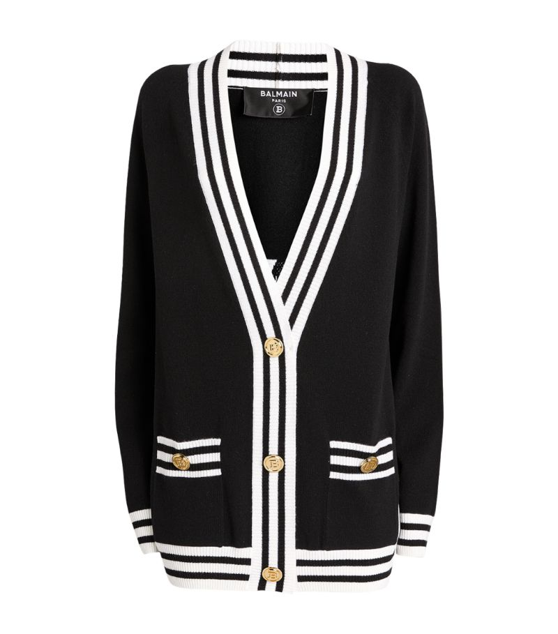 Balmain Striped Logo Cardigan