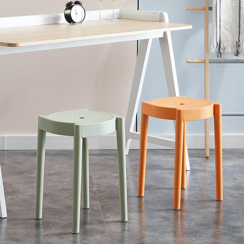 現代簡約北歐塑料加厚凳子家用客廳凳板凳可疊放膠凳朔料圓凳高登