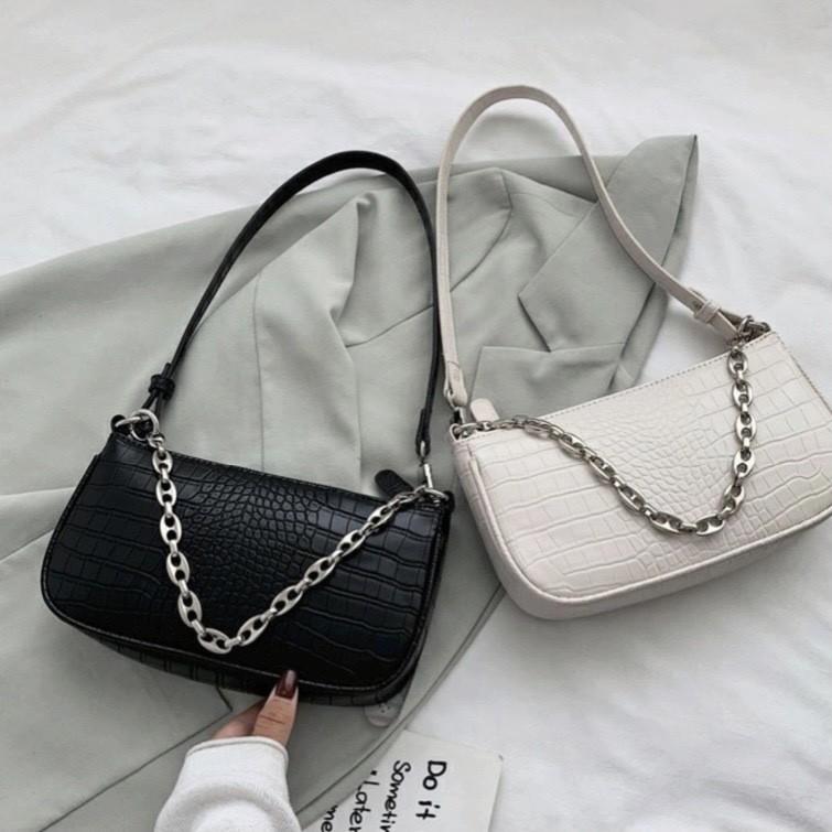DoMiss鱷魚紋時尚鏈條手提包-4色 女生包包