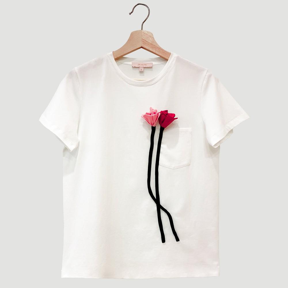紅粉立體桔梗圓領T-Shirt