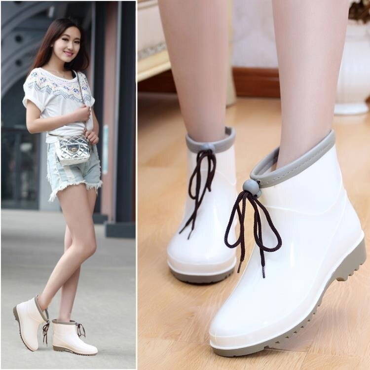短筒時尚雨鞋女夏季成人雨靴韓國防滑水鞋女套鞋學生膠鞋中幫水靴.