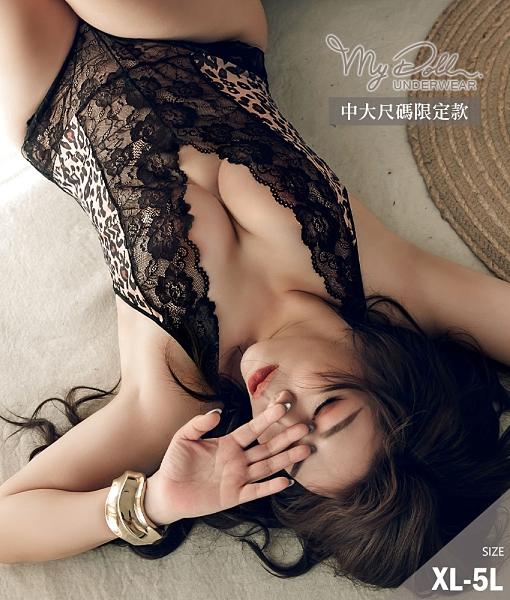 大尺碼性感睡衣 波斯午茶 豹紋蕾絲大挖背網紗連身睡衣 (黑色/XL到5L適穿) MyDoll