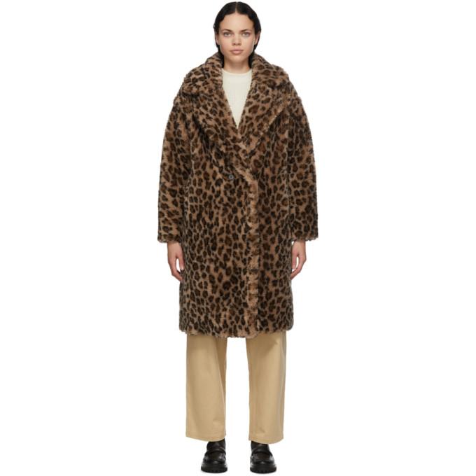 Yves Salomon - Meteo 棕色 and 驼色豹纹羊毛大衣