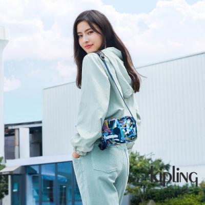 Kipling 幾何花卉圖騰簡約造型拉鍊方包-BETHANY
