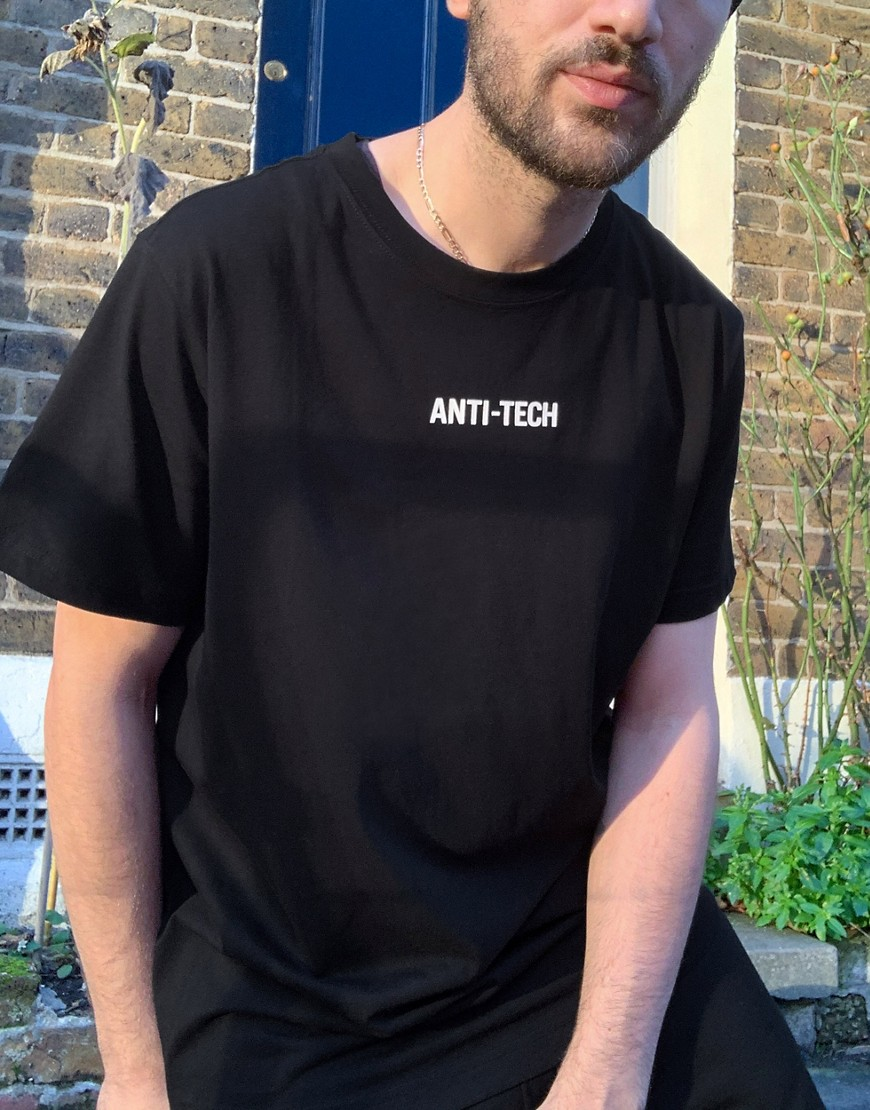 Weekday Relaxed t-shirt with anti-tech print-Black