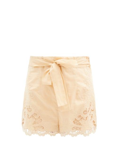 Zimmermann - Lulu Broderie-anglaise Cotton Shorts - Womens - Beige