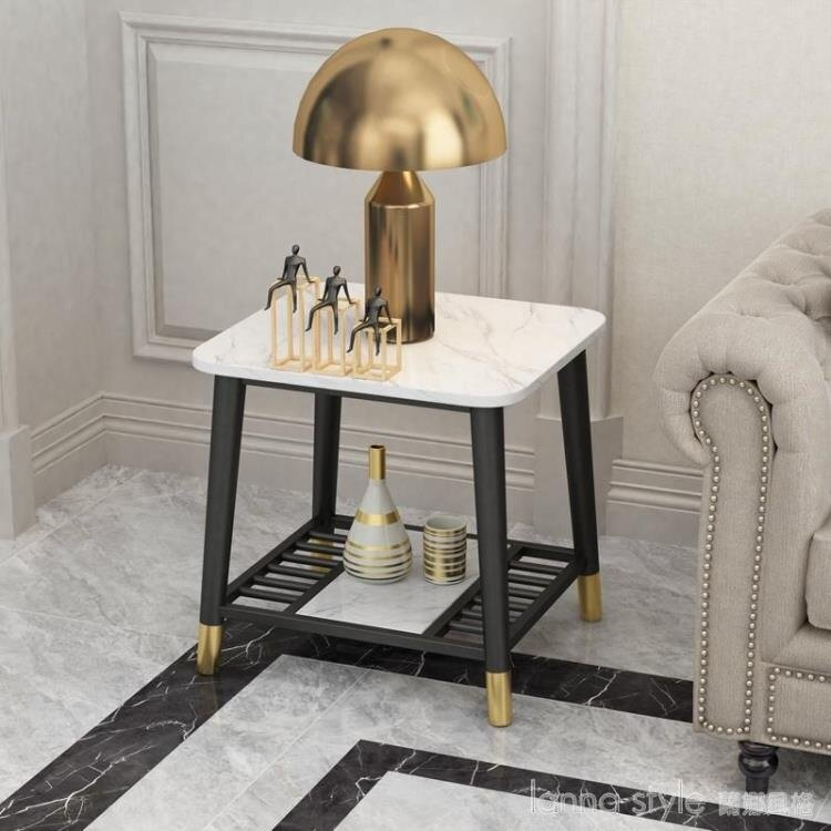 輕奢后現代大理石北歐沙發邊幾角幾簡約創意客廳鐵藝臥室小茶几桌