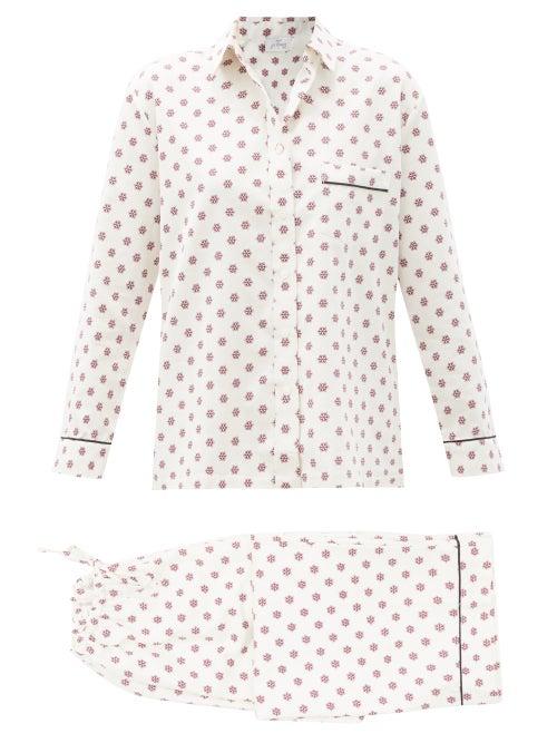 Pour Les Femmes - Snowflake-print Cotton-sateen Pyjamas - Womens - Burgundy Print