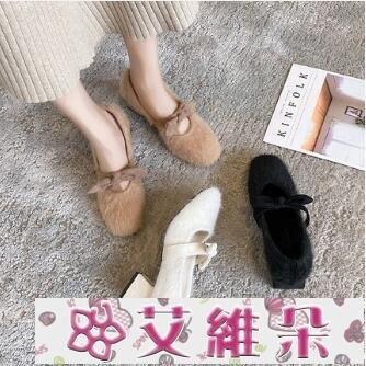 粗跟單鞋 水貂毛毛鞋女秋冬外穿百搭2020年新款溫柔仙女單鞋白色高跟鞋粗跟