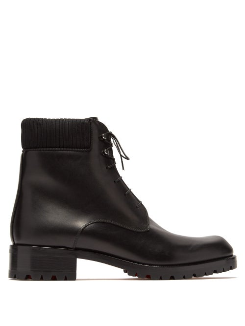 Christian Louboutin - Trapman Lace-up Leather Boots - Mens - Black