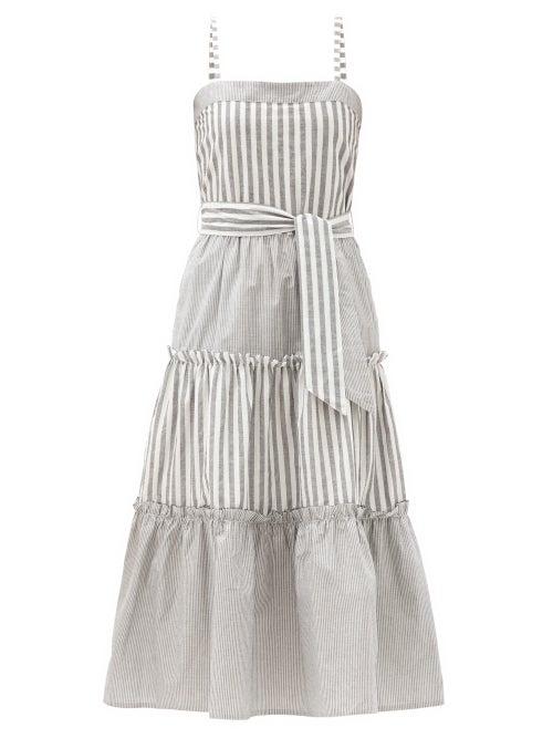 Solid & Striped - The Georgia Belted Striped Cotton Midi Dress - Womens - Black Stripe
