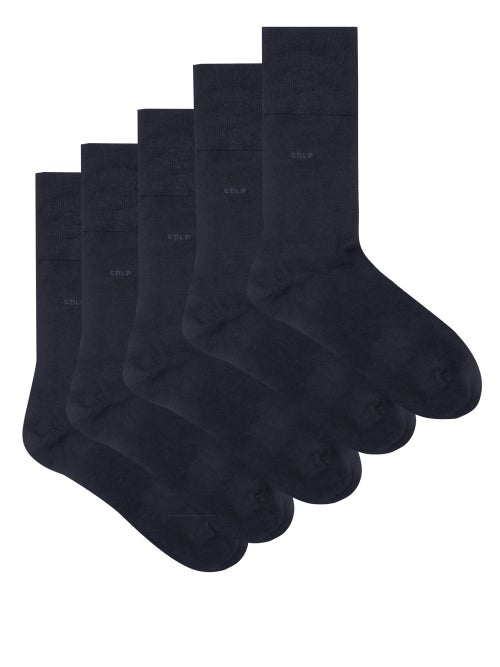 CDLP - Pack Of Five Bamboo-blend Socks - Mens - Navy