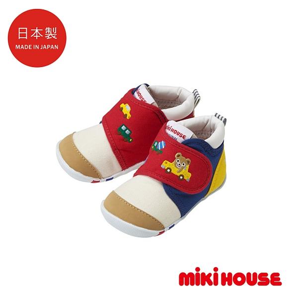 MIKI HOUSE 日本製 普奇熊 & 汽車學步鞋 第一階段 (紅/白)