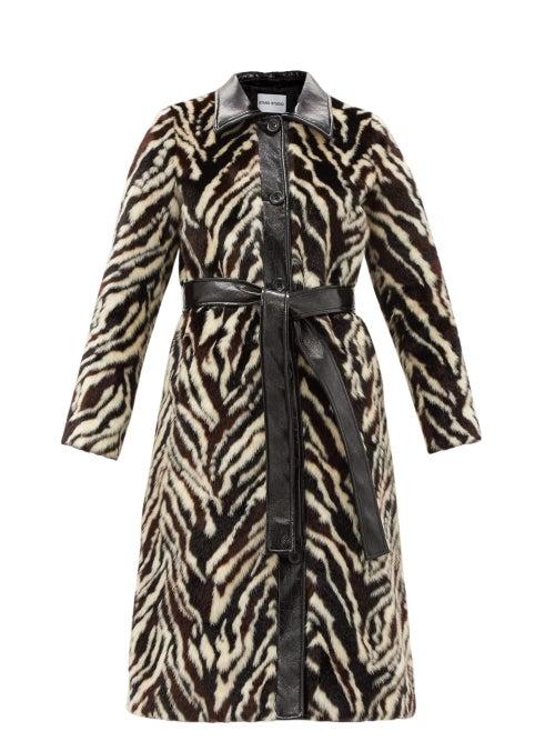 Stand Studio - Aurora Belted Zebra-print Faux-fur Coat - Womens - Black White