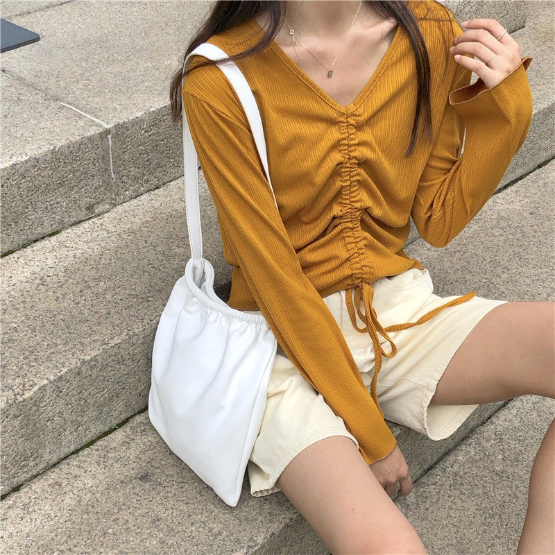 ♡SML♡ 韓版抽繩喇叭袖上衣