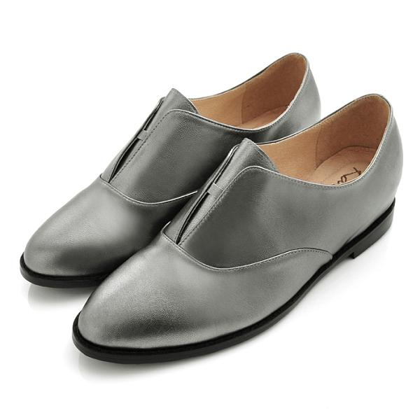 karine(MIT台灣製)全真皮2way無綁帶內增高牛津鞋-星空銀