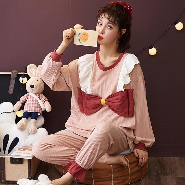 睡衣套裝 睡衣女長袖2020新款春秋韓版少女睡衣可愛萌系居家套裝秋冬季
