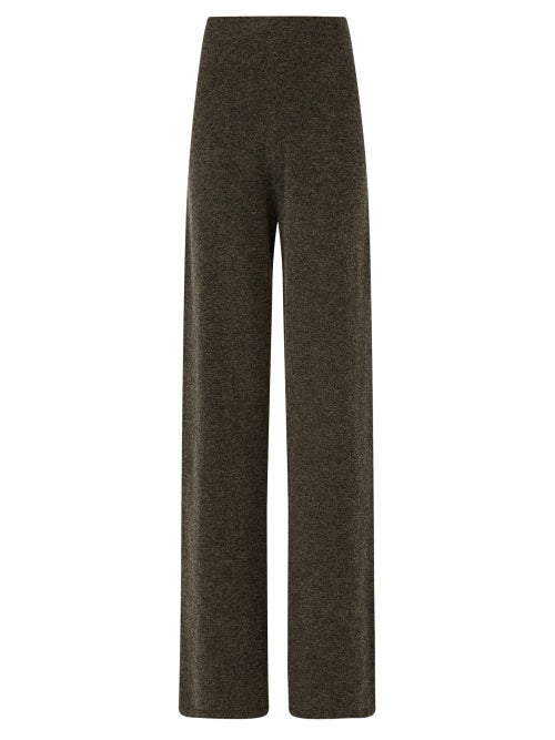 Joseph - High-rise Jersey Wide-leg Trousers - Womens - Dark Grey