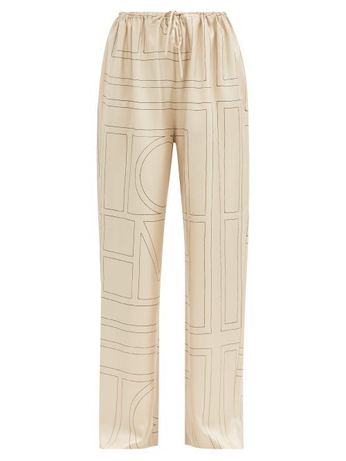 Totême - Vizelle Logo-embroidered Silk-twill Trousers - Womens - Ivory