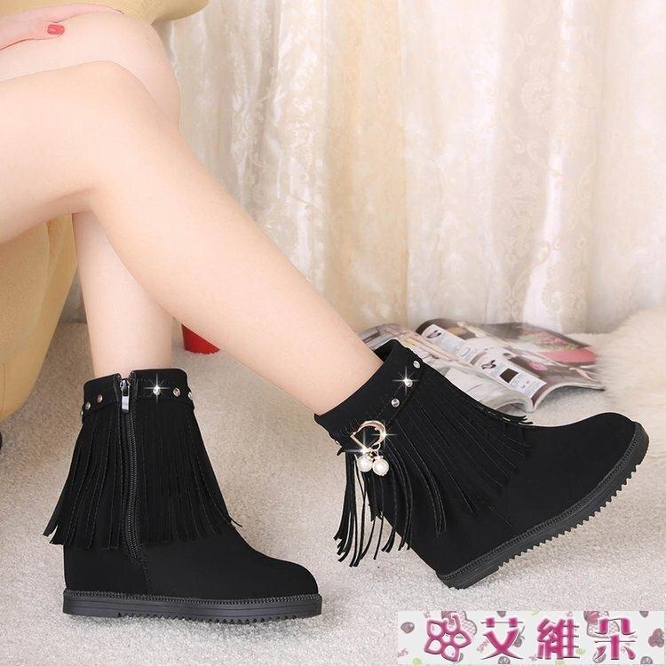 雪地靴 2020新款春秋短靴流蘇韓版學生平底內增高女鞋單靴加絨棉鞋雪地靴