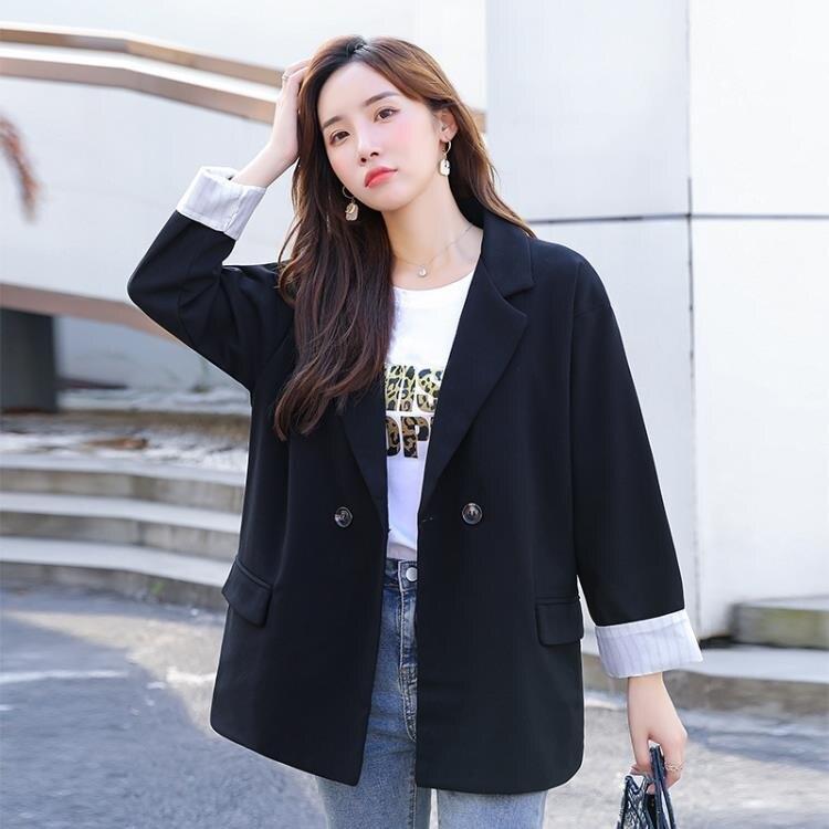 西裝外套網紅小西裝外套女春秋年新款韓版寬鬆休閒設計感套裝黑色西服