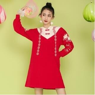 連帽洋裝 秋裝女新款洋氣漢服女學生中國風日常連帽連帽T恤寬鬆顯瘦連身裙
