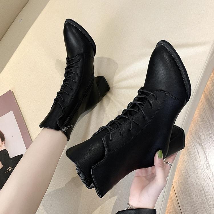 粗跟短靴 粗跟短靴女高跟2020秋冬季新款中跟時尚尖頭繫帶復古馬丁靴女裸靴