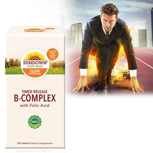緩釋型高單位強效B群+C(B12強化配方)(100錠/瓶)【Sundown日落恩賜】商品有效期限-2022/8月底