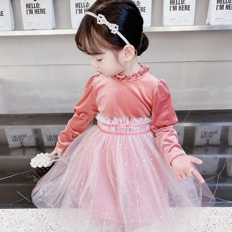 女童禮服 韓國2女童秋季連身裙5中小童洋氣絲絨公主裙3兒童洋氣禮服紗裙7歲