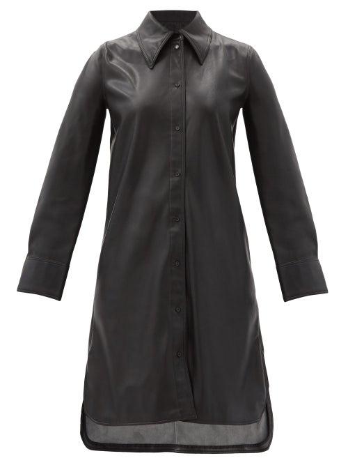 Stand Studio - Remi Faux-leather Shirt Dress - Womens - Black