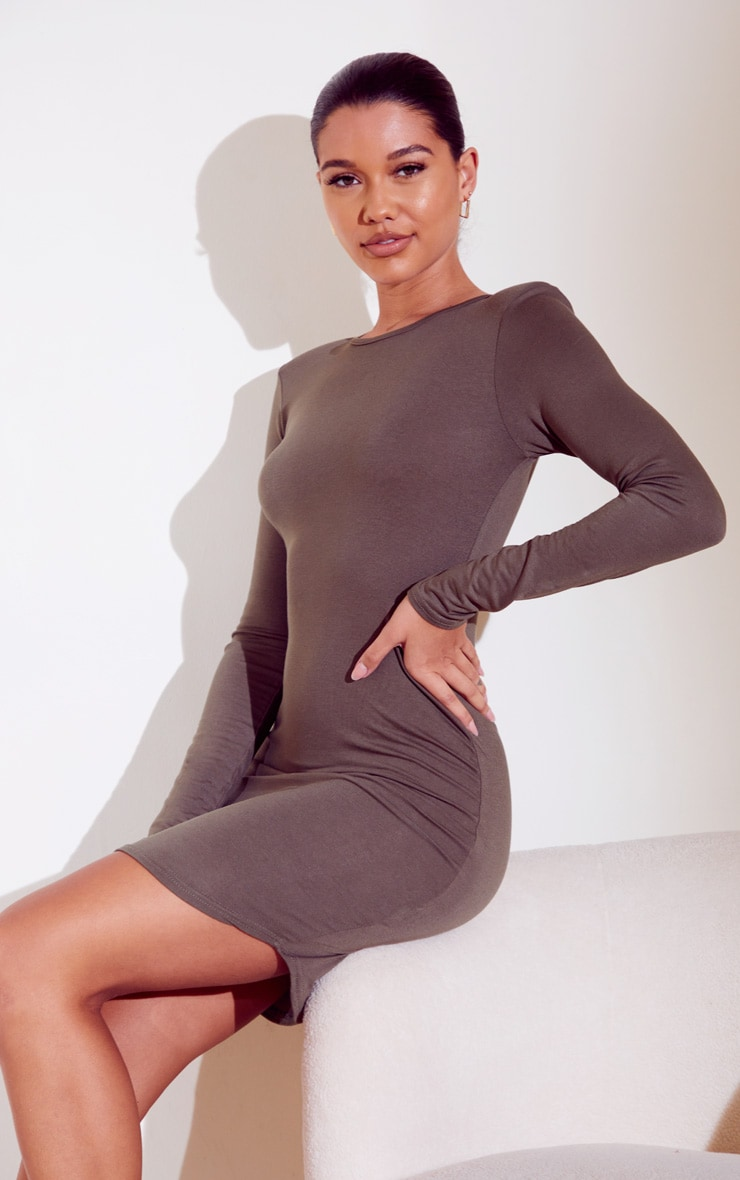 Khaki Long Sleeve Shoulder Pad Bodycon Dress