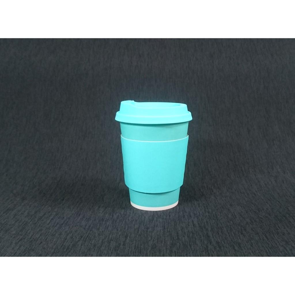含稅 50組【馬卡藍 12oz 冷熱共用杯+霧圈藍凸蓋+藍杯套】冷熱杯 霧透杯 冷飲杯 熱飲杯 藍色咖啡杯 藍色杯 紙杯
