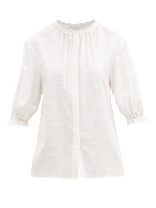 Loup Charmant - Pico Striped Ruffled Organic-cotton Blouse - Womens - White