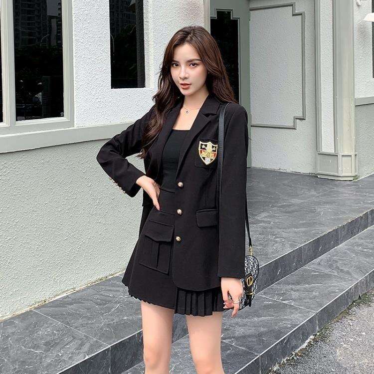 兩件式套裝 網紅氣質女神套裝2020秋季新款女裝西服韓版小西裝裙子兩件套潮
