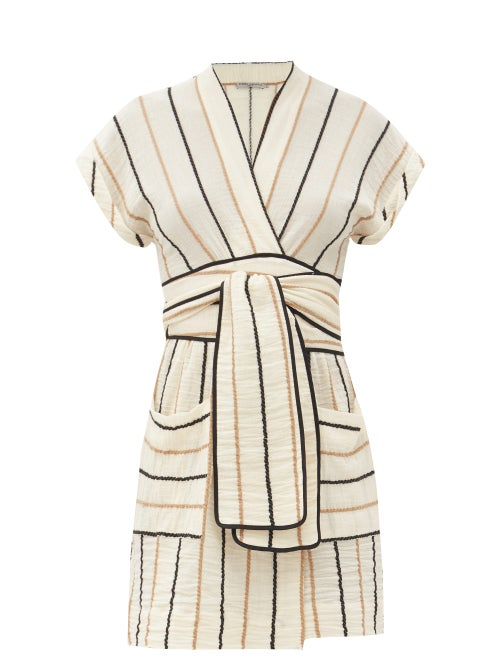 Three Graces London - Aurora Striped Cotton Mini Dress - Womens - Yellow Stripe