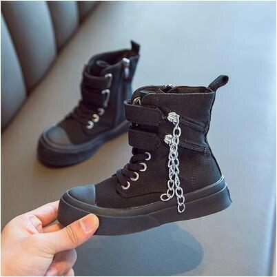 女童靴子 女童靴子2020秋季新款兒童時尚側拉錬馬丁靴韓版男童百搭帆布單靴