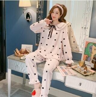 睡衣套裝 睡衣女秋冬季珊瑚絨2020新款可愛公主風韓版加厚法蘭絨家居服套裝