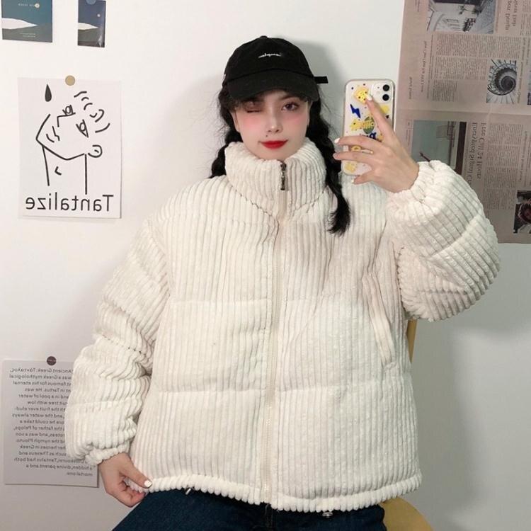 短款羽絨服 秋冬羽絨棉服女短款小個子韓版新款寬鬆燈芯絨棉衣冬季學生面包服