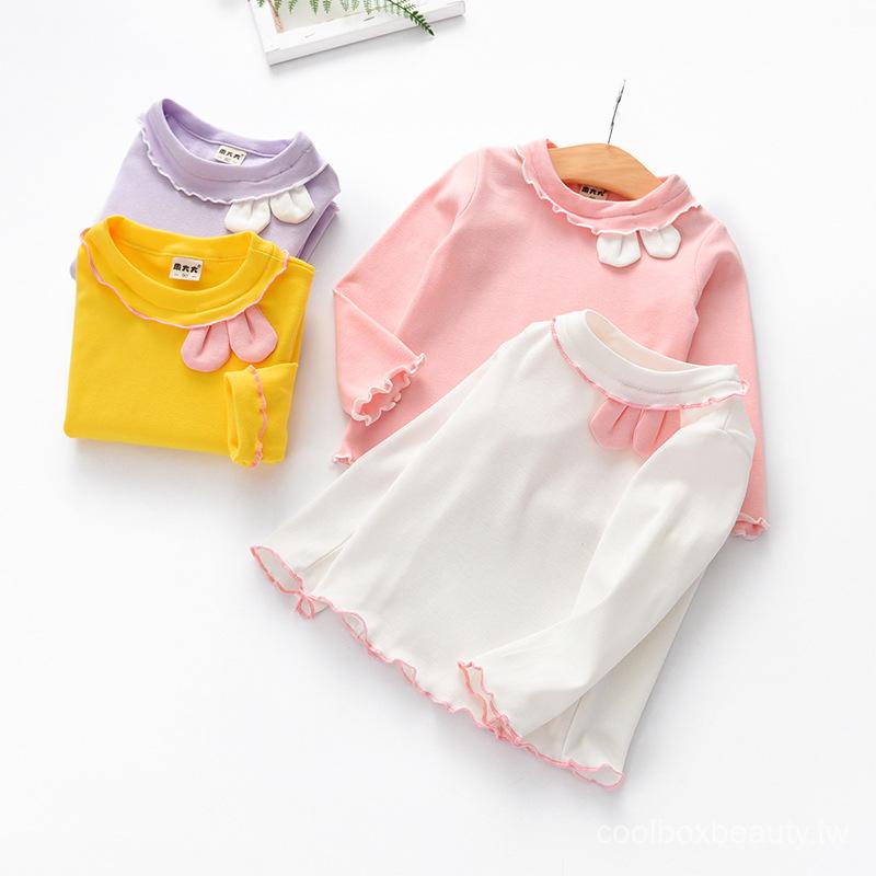 女童長袖打底衫春裝2019新品兒童木耳邊上衣可愛女寶寶兔耳朵T恤 ojNy