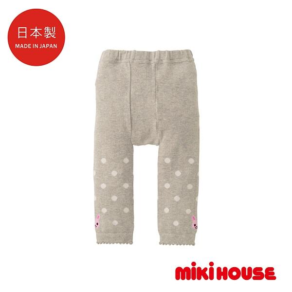 MIKI HOUSE 日本製 可愛舞颯兔無底褲襪(淺灰)