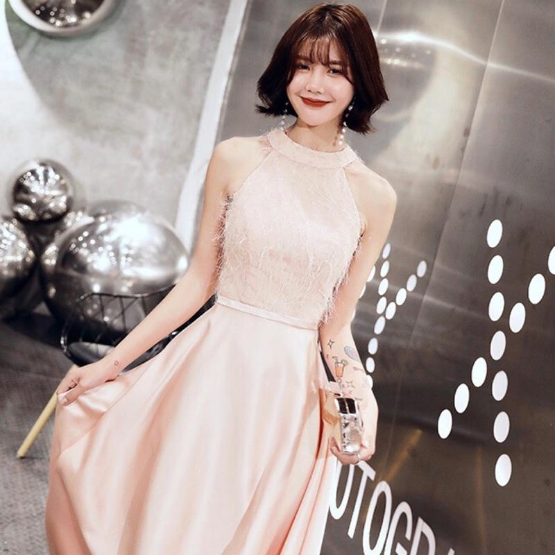 全新高質感歐美大牌氣質時尚性感粉橘粉紅色設計霧光緞面拼接流蘇毛毛繞頸露肩斜肩削肩連身裙洋裝禮服