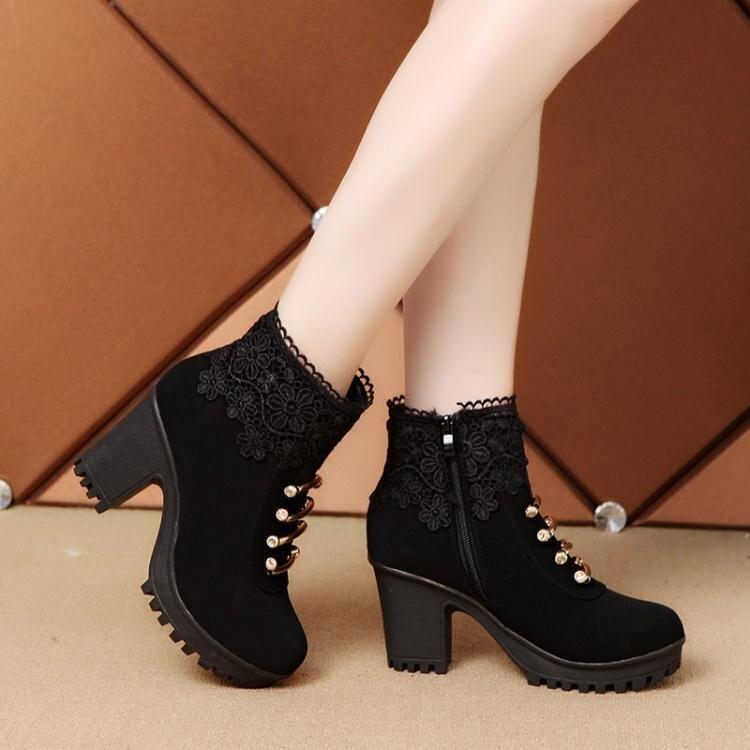 粗跟短靴 2020秋冬季韓版女士高跟靴短筒粗跟馬丁靴女流蘇短靴厚底保暖女靴