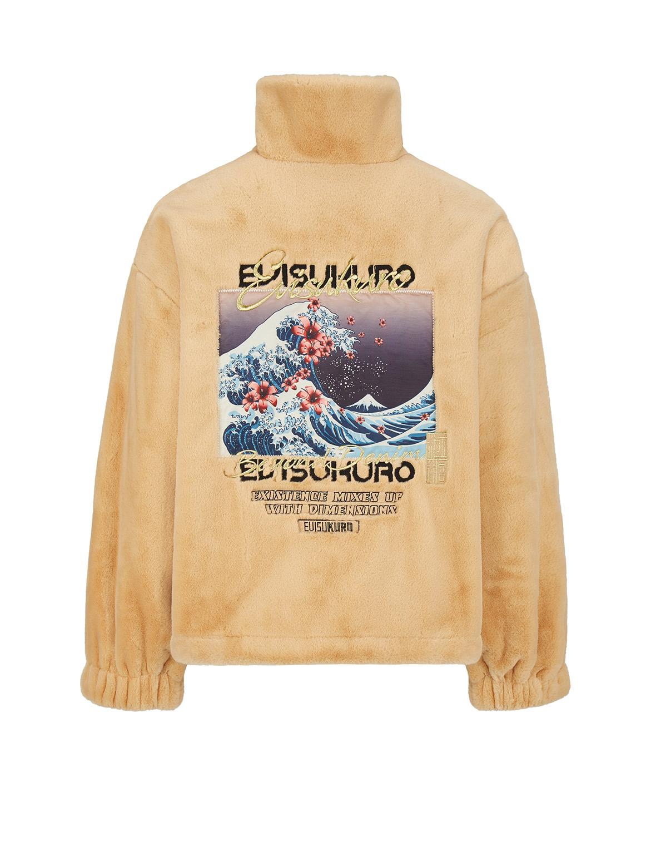 Ukiyo-E Print Mock Sherpa Padded Jacket