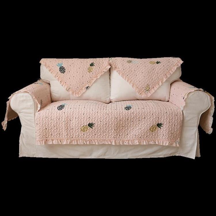 沙發罩 菠蘿沙發墊四季通用防滑現代簡約全棉沙發套罩全蓋全包粉色可愛冬
