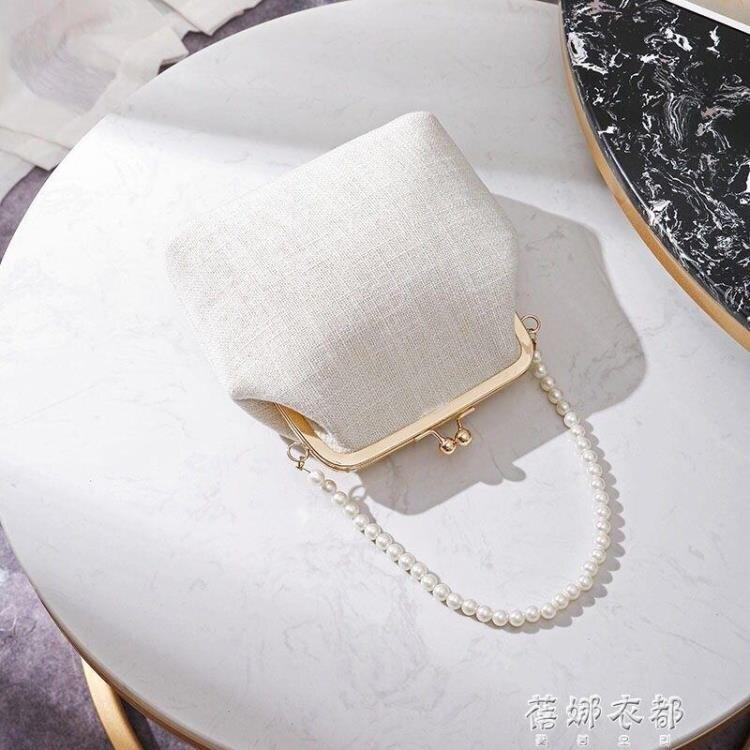 貝殼包女2020年新款珍珠夾子包單肩斜跨手提古風包包貝SUPER 全館特惠9折