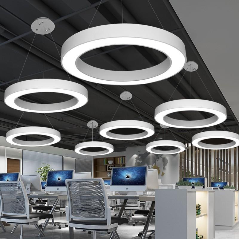 那美若拉專賣店 LED辦公室吊線燈中空圓形吊燈簡約現代臥室燈創意時尚loft吊線燈